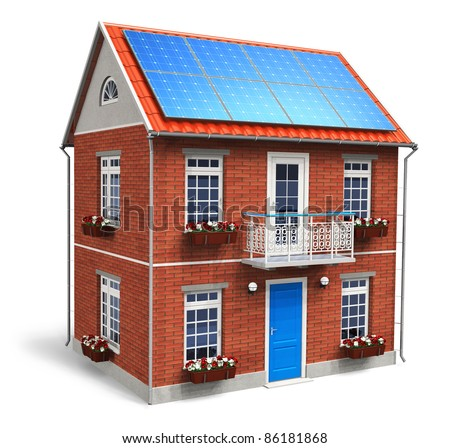 Residential house with solar batteries on the roof isolated on white background - stock photo