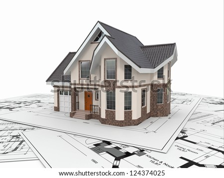 Residential house with tools on architect blueprints. Housing project. 3d - stock photo