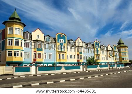 Residential houses, Swakopmund - stock photo