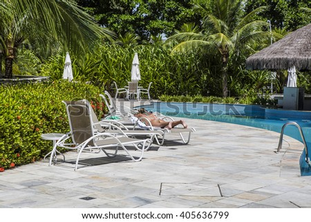 Residential in ground swimming pool - stock photo