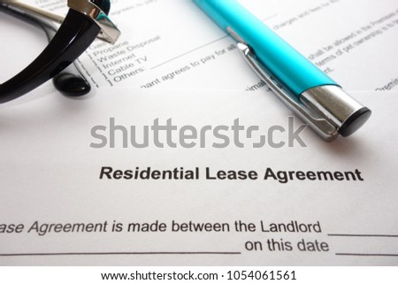 Residential Lease Agreement Document On Lawyers Stock Photo