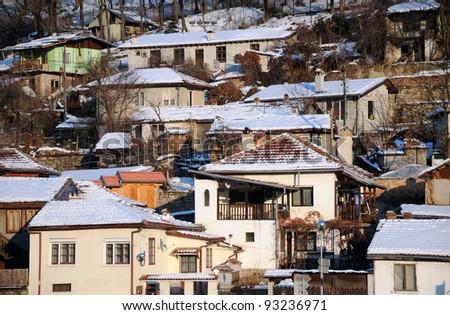 Residential neighborhood in the city of Veliko Tarnovo in Bulgaria in the winter - stock photo