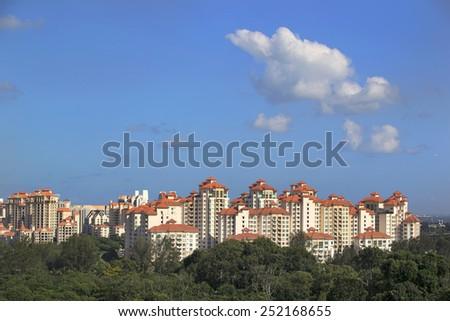 Residential neighborhood on East Coast, Singapore - stock photo
