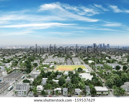 Residential neighborhood with commercial and cityscape background. - stock photo