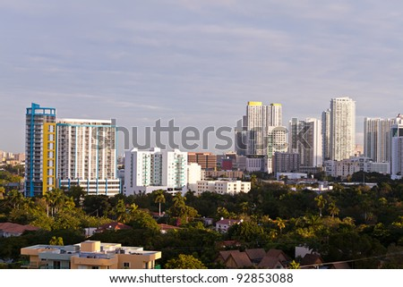 Residential rental apartment and condominium buildings in the Brickell area of downtown Miami. - stock photo