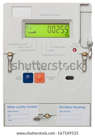 Residential smart electricity meter isolated on white with clipping path - stock photo