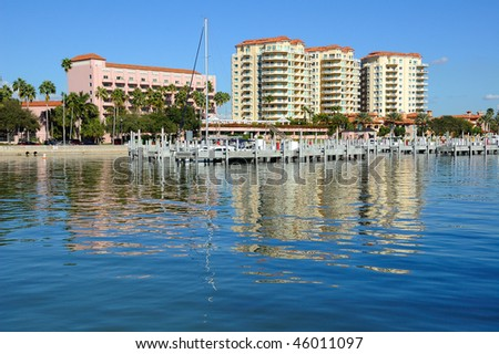 Residential Towers Reflection in the Bay at St Petersburg, Florida - stock photo
