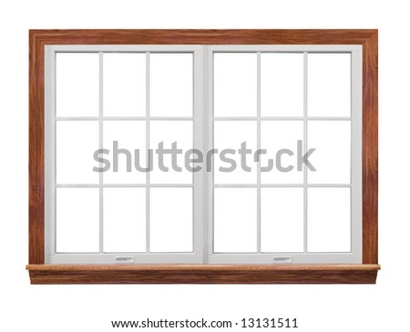 Residential window frame isolated on white (also have single frame window with 9 squares.) - stock photo
