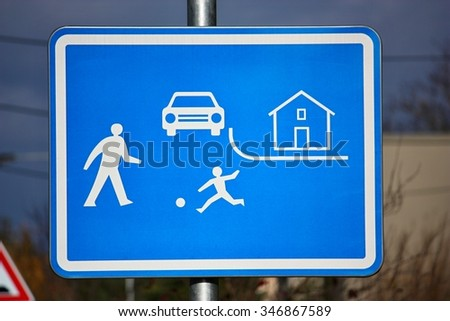 Residential zones traffic sign  - stock photo