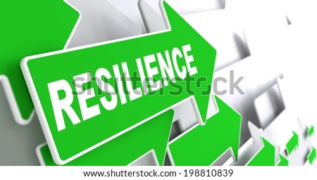 Resilience on Direction Sign - Green Arrow on a Grey Background. - stock photo