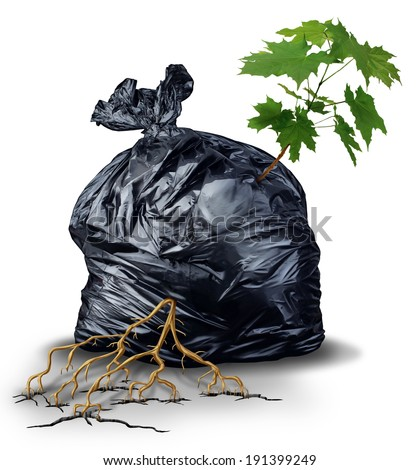 Resilient And determined concept as a green sapling tree with leaves and roots bursting out and breaking through from a garbage bag as a metaphor for the force of nature and  business determination. - stock photo