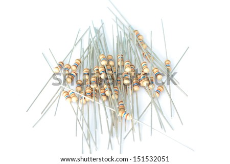 Resistors for  a printed circuit board on white background