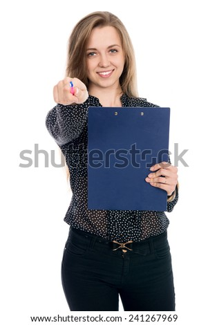 Resolute woman businessman in dark blouse pen points at the camera. Isolated on a white background. Successful business woman - stock photo