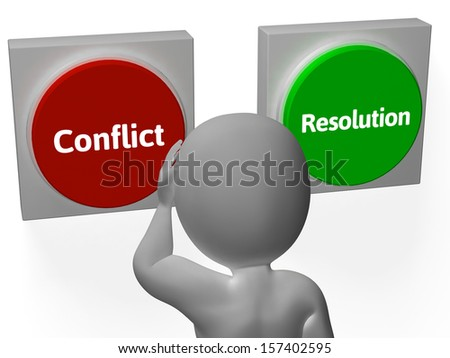 Resolution Conflict Buttons Showing Fighting Or Arbitration - stock photo