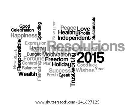 Resolution & wishes 2015 on white background