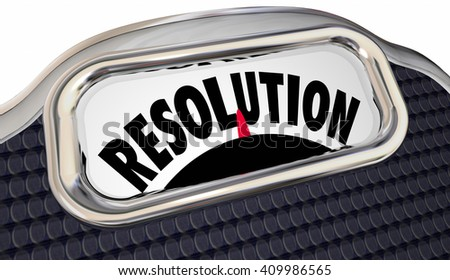 Resolution Word Scale New Year Promise Commitment Lose Weight