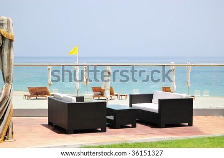 Resort area, Fujeira, UAE - stock photo