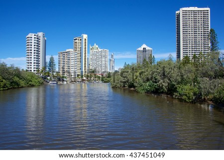 Resort buildings at Surfers Paradise, on Australia's Gold Coast in Queensland