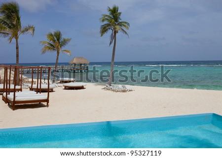 resort detail at the caribbean sea. Yucatan, Mexico - stock photo