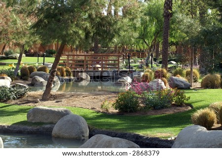 resort gardens - stock photo