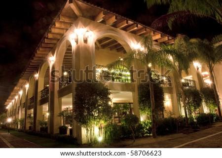 Resort hotel at night - stock photo