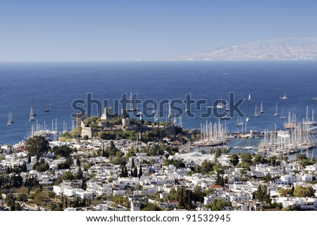 Resort of Bodrum and the Crusader castle in Turkey - stock photo