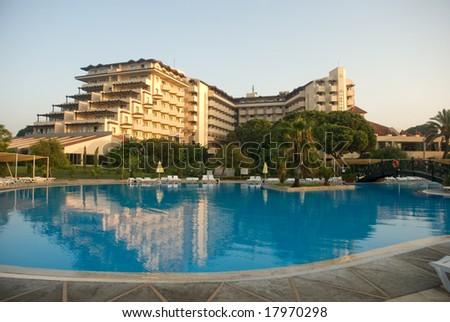 resort pool - stock photo