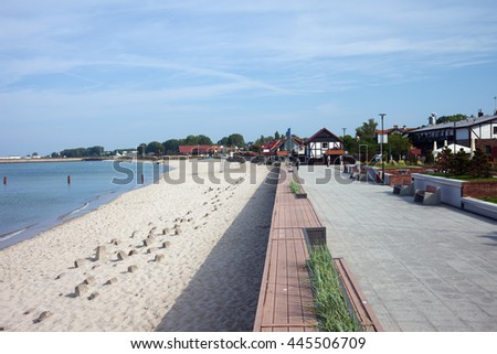 Resort town of Hel in Pomerania, Poland, promenade and beach at Baltic Sea, popular vacation destination
