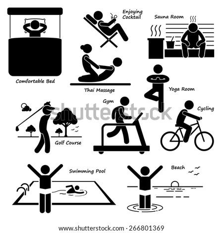 Resort Villa Hotel Holiday Vacation Tourist Activity Stick Figure Pictogram Icons - stock photo