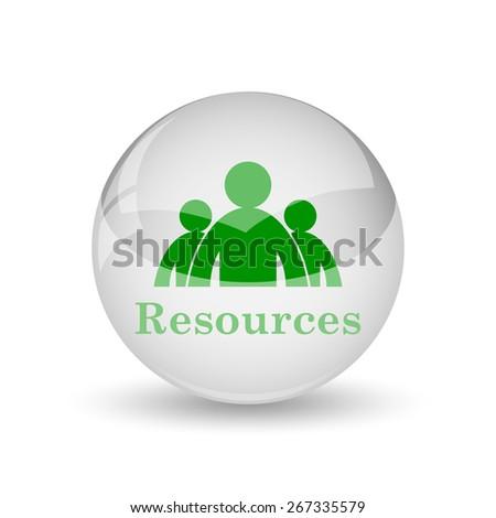 Resources icon. Internet button on white background.  - stock photo