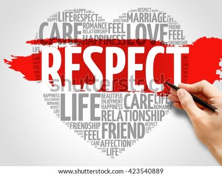 Respect concept heart word cloud - stock photo