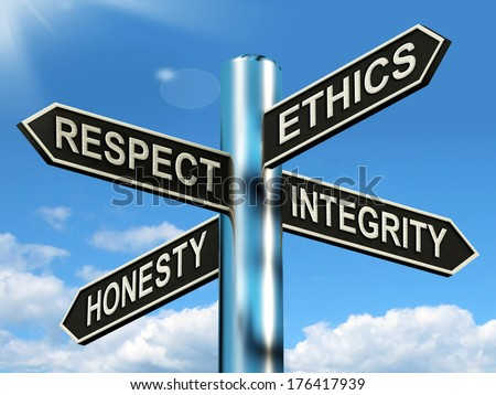 Respect Ethics Honest Integrity Signpost  - stock photo