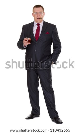Respectable businessman with cigar and brandy isolated on white - stock photo