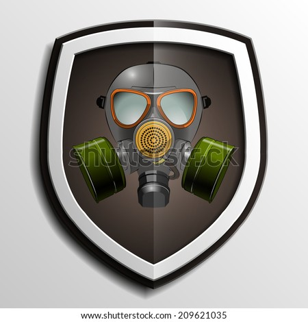 Respirator mask icon on shield background - stock photo