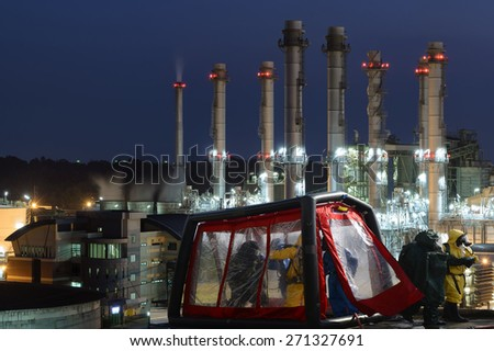 Response decontamination station Oil,refinery plant. - stock photo