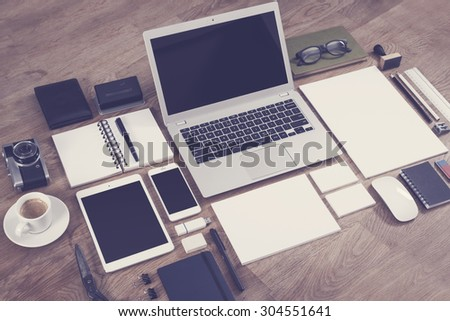 Responsive design and letterhead design mockup - stock photo