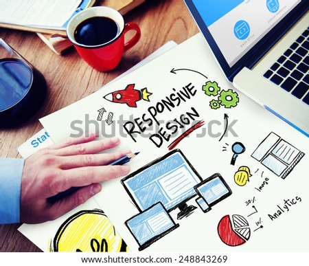 Responsive Design Internet Web Online Office Working Concept - stock photo