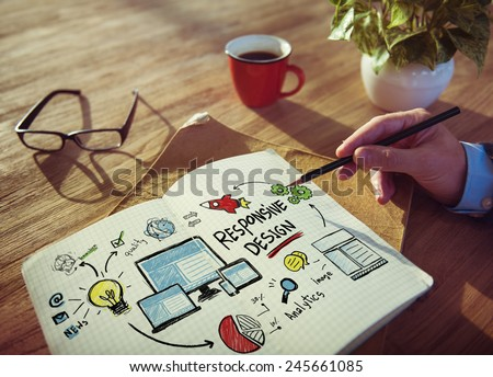 Responsive Design Internet Web Working Brainstorming Learning Concept - stock photo