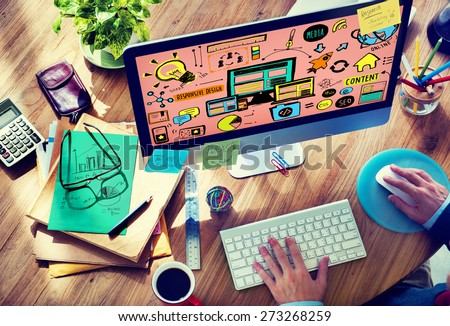Responsive Design Responsive Quality Content Share Online Concept - stock photo