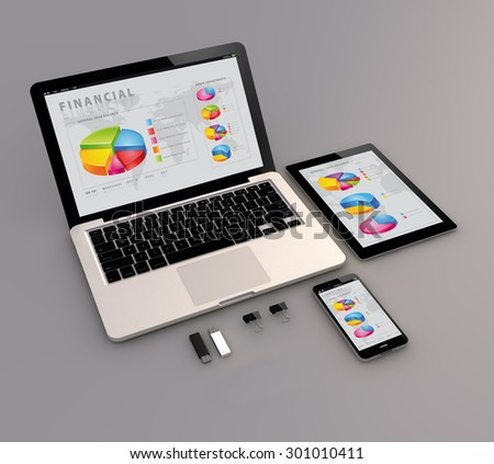 Responsive financial app: Open laptop with digital tablet and smartphone. 3d Generated. All screen graphics are made up. - stock photo