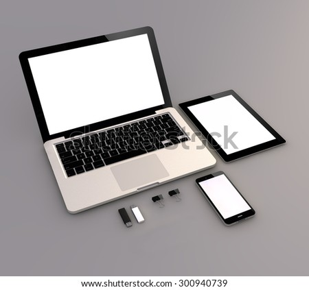 Responsive mock-up: Open laptop with digital tablet and white smartphone.  - stock photo