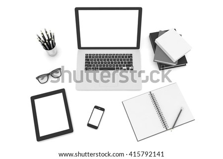 Responsive mockup screens. Laptop, tablet, phone on table. 3d rendering. - stock photo