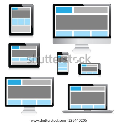 Responsive web design in electronic devices isolation - stock photo