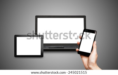 Responsive web design on mobile devices phone, laptop and tablet pc - stock photo