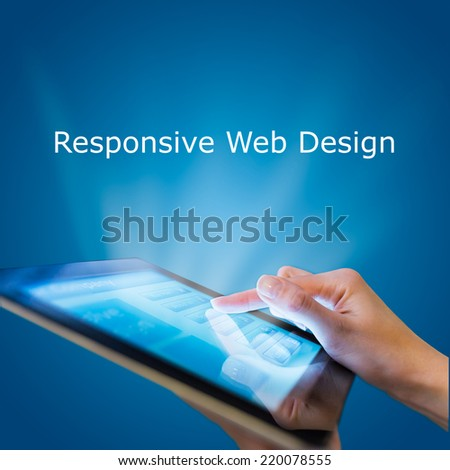 Responsive web design on mobile devices tablet pc on blue background - stock photo
