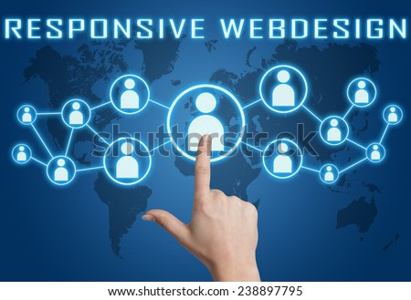 Responsive Webdesign concept with hand pressing social icons on blue world map background. - stock photo