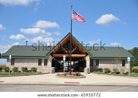 rest area a motorists' stopping place, usually off a highway, equipped with tables, seats, etc - stock photo
