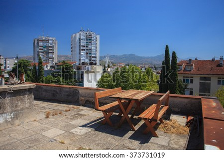 Rest area on the roof in Podgorica, Montenegro - stock photo