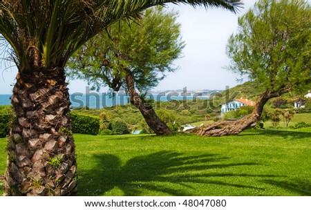 rest, beautiful view, blue ocean - stock photo