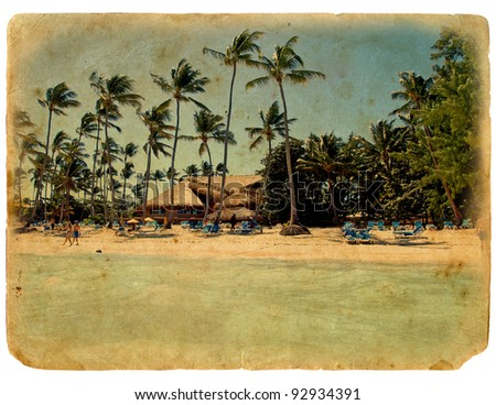 rest on the beach, lounge chairs, palm trees, the bungalows. The postcard, in a stylized grunge and retro style. Isolated on white background